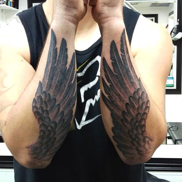 Phoenix Wings Men Tattoo On Both Forearms
