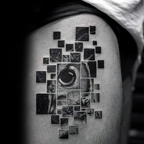 Photograph Style Mens Geometric Owl Realistic 3d Tattoo On Thigh