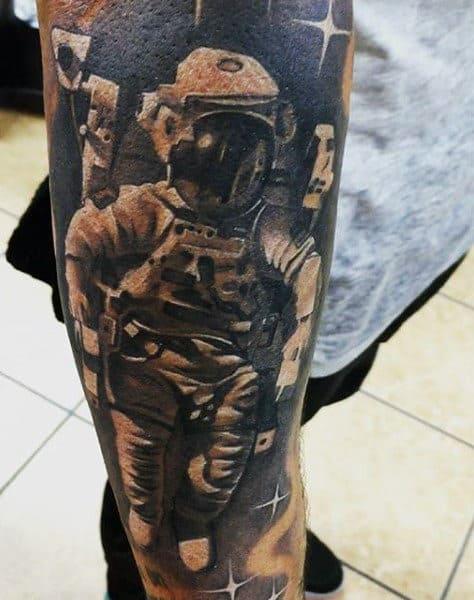 Photographic Image Grey Astronaut Tattoo Males Calves