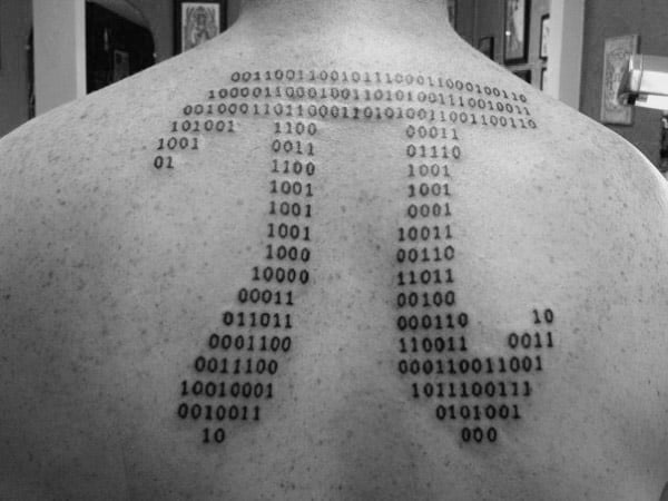Pi Symbol Mens Binary Upper Back Tattoos