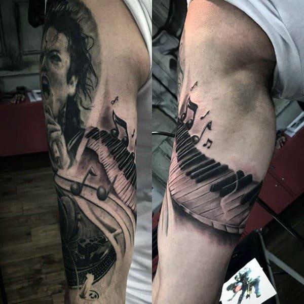 Piano Keys Wrapping Around Arm Mens Tattoo Ideas