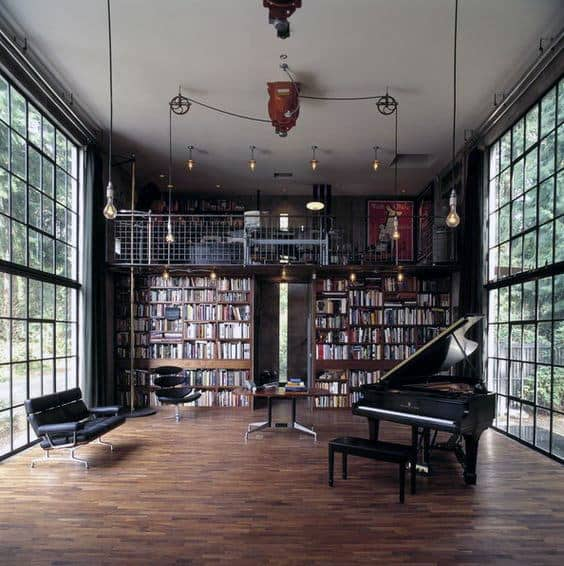 Piano Room Home Library Industrial Designs