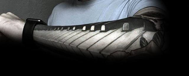 60 Piano Tattoos For Men – Music Instrument Ink Design Ideas
