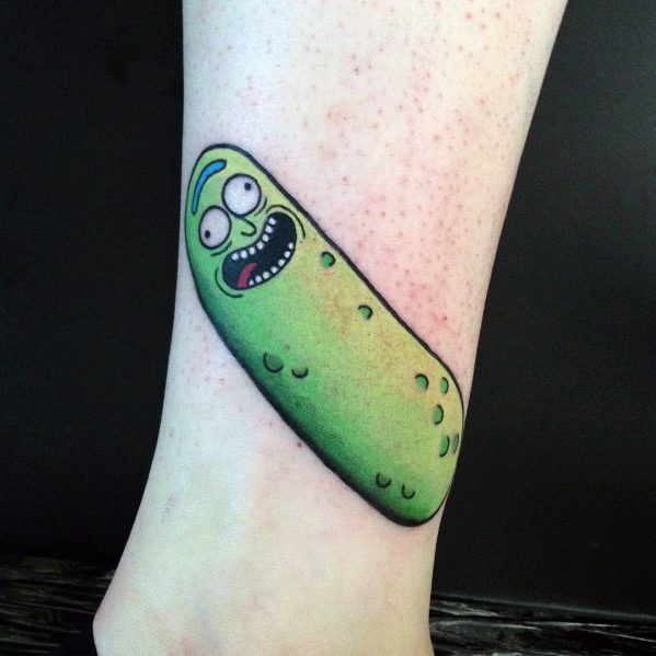 Pickle Rick Themed Tattoo Ideas For Men On Leg