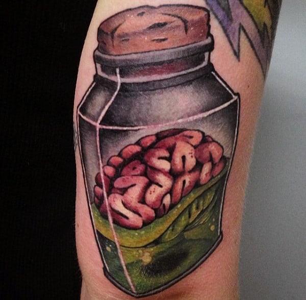 Pickled Brain In Jar Tattoo Male Arms