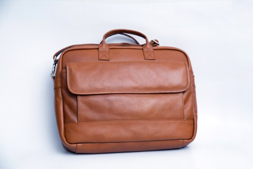 Piel Leather Top Zip Slim Briefcase For Men