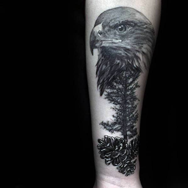 Pine Cone With Eagle Mens Forearm Tattoo