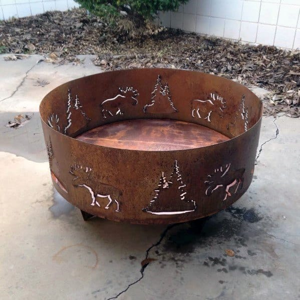 Pine Tree And Deer Themed Home Ideas Metal Fire Pits