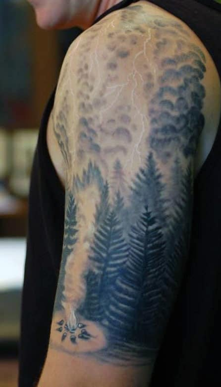 Pine Tree Camping Forest Lightning Tattoo For Men