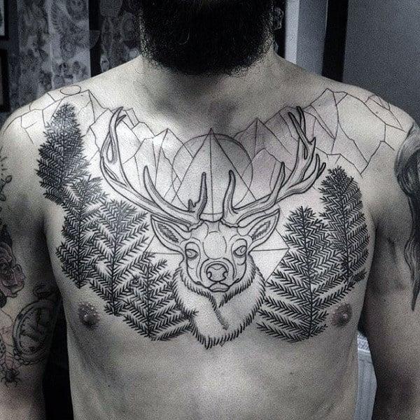 Pine Tree Deer Antler Mens Upper Chest Tattoo Design Inspiration