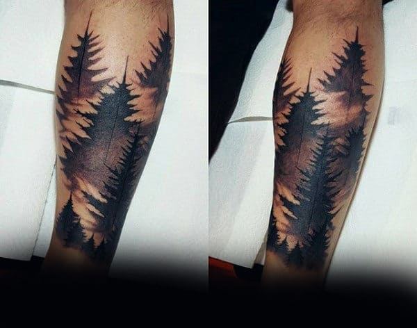 Pine Tree Forearm Tattoo On Man
