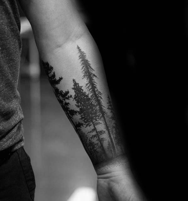 Pine Tree Forest Badass Male Forearm Tattoos