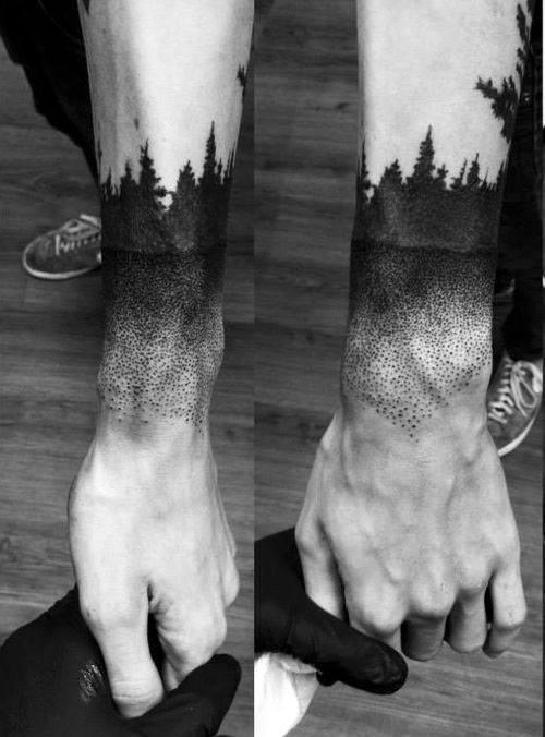 Pine Tree Forest Pointillism Mens Wrist Tattoos