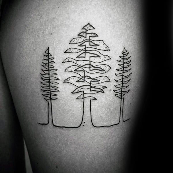 Pine Tree Linework Minimalist Male Thigh Tattoos