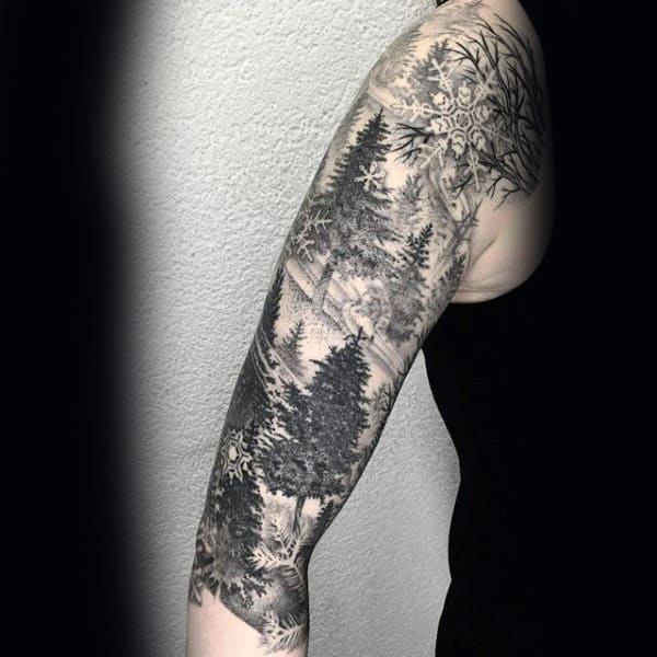 Pine Tree Sleeve Mens Shaded Black And Grey Tattoo Designs