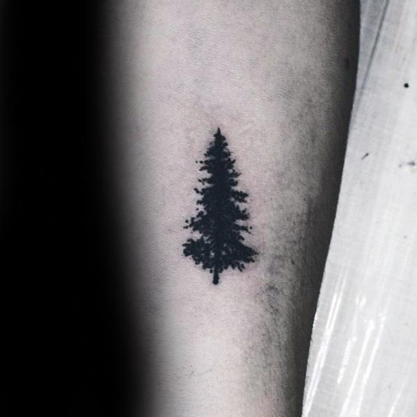 Pine Tree With Black Ink Guys Small Simple Forearm Tattoo Ideas