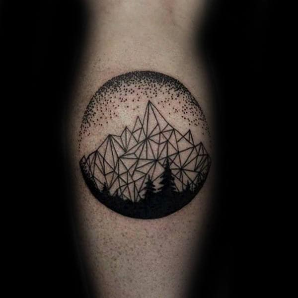 Pine Trees Mountains Circle Dotwork Tattoos For Guys On Leg Calf