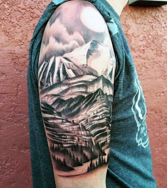 Pine Trees Tattoo Designs For Men