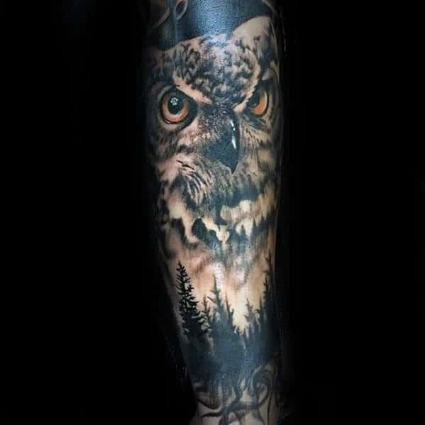 Pine Trees With Owl Sleeve Tattoo Design Ideas For Men