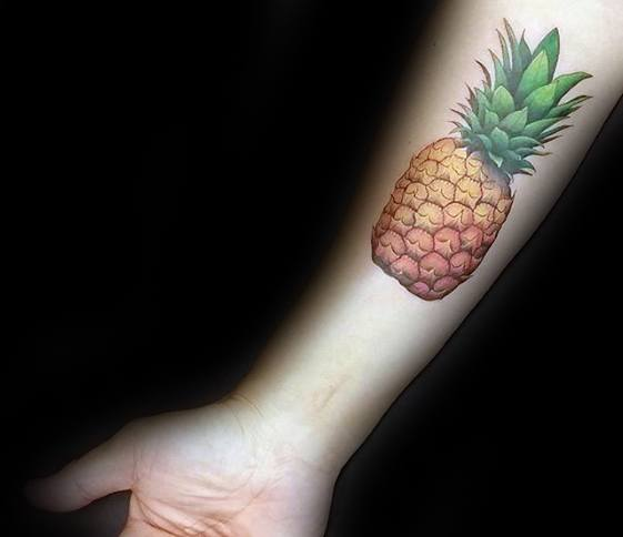 Pineapple Male Tattoos On Inner Forearm
