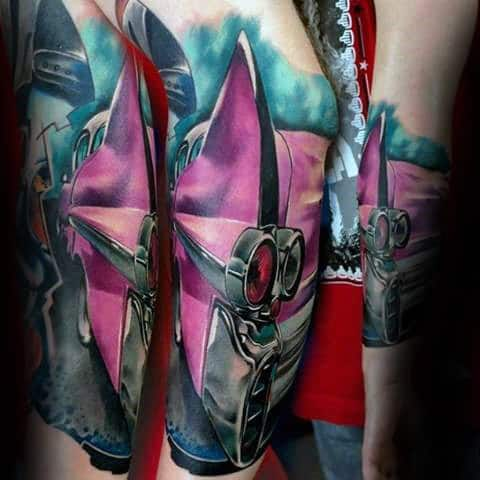 Pink Cadillac Guys Watercolor Forearm Sleeve Tattoos