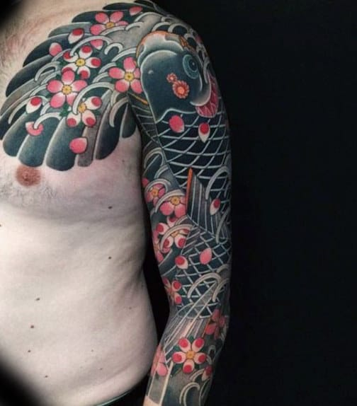 Pink Florals And Grey Japanese Sleeve Tattoo For Males