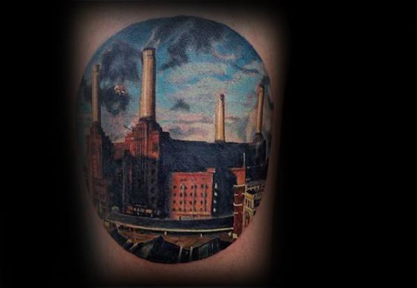 Pink Floyd Animals Album Tattoos Guys On Thigh