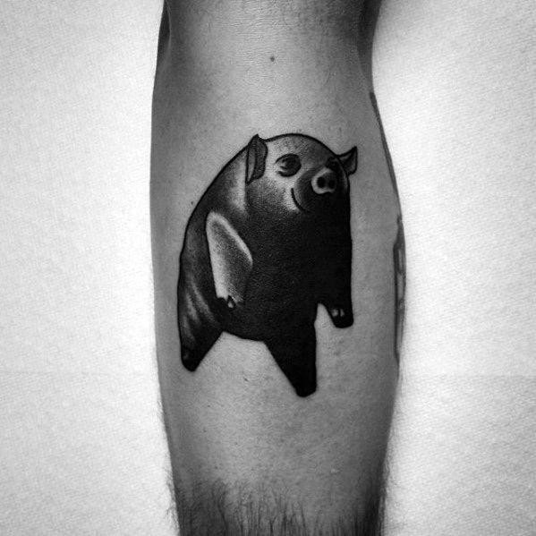 Pink Floyd Flying Pig Traditional Guys Tattoo On Leg Calf
