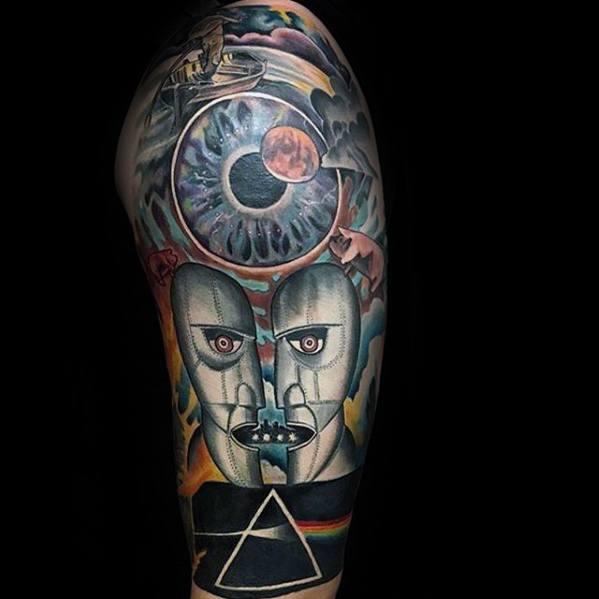 Pink Floyd Tattoo Ideas On Guys Half Sleeve