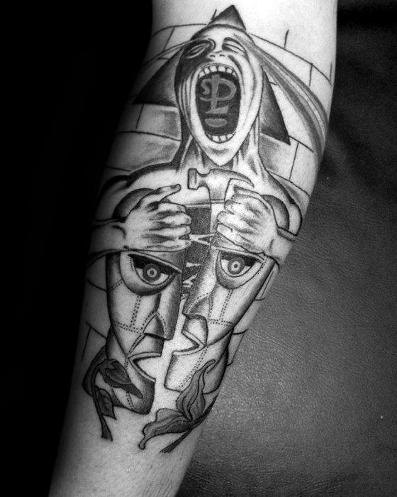Pink Floyd Tattoos Men Forearm Sleeve