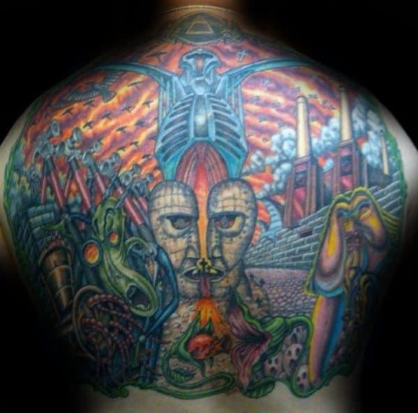 Pink Floyd Themed Full Back Tattoos For Men