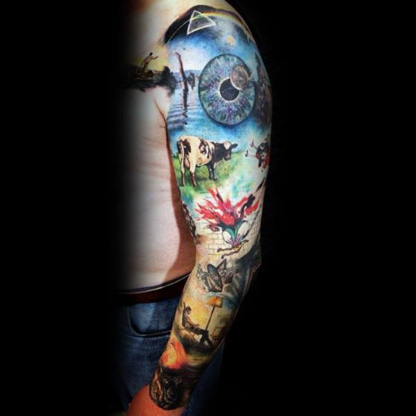 Pink Floyd Themed Guys Full Arm Sleeve Tattoos