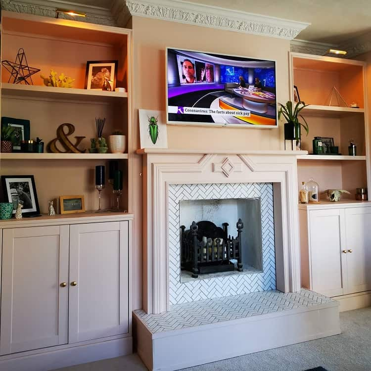 Pink Ground Paint Fireplace Entertainment Center