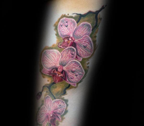 Pink Orchid Flowers Mens Watercolor Tattoo Ideas