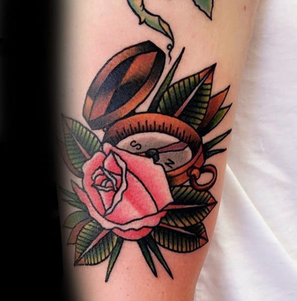 Pink Rose With Compass Male Traditional Old School Arm Tattoos