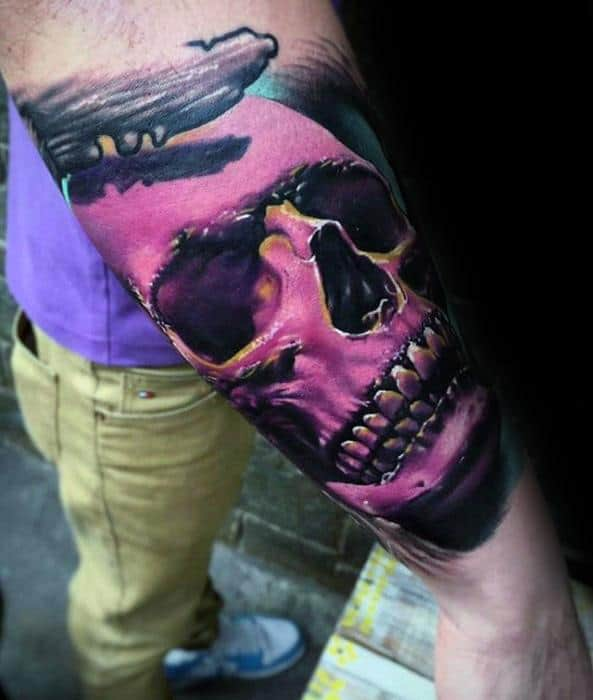 Pink Unique Skull Mens Outer Forearm Cool Tattoo Designs