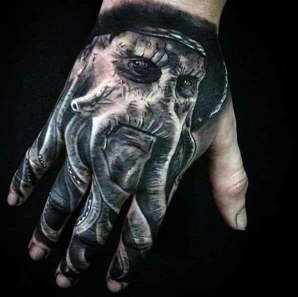 Pirate 3d Hand Tattoos For Guys