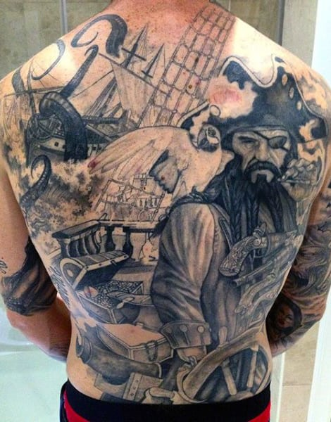 Pirate Back Tattoos For Males