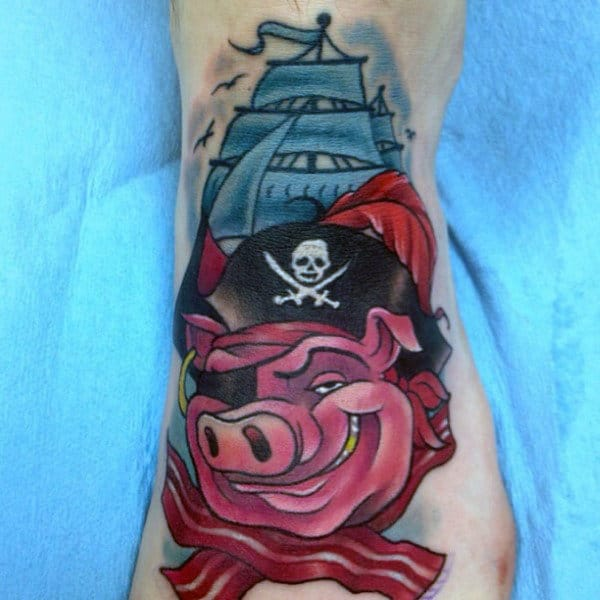 Pirate Bacon Pig And Large Sailed Ship Tattoo Male Forearm