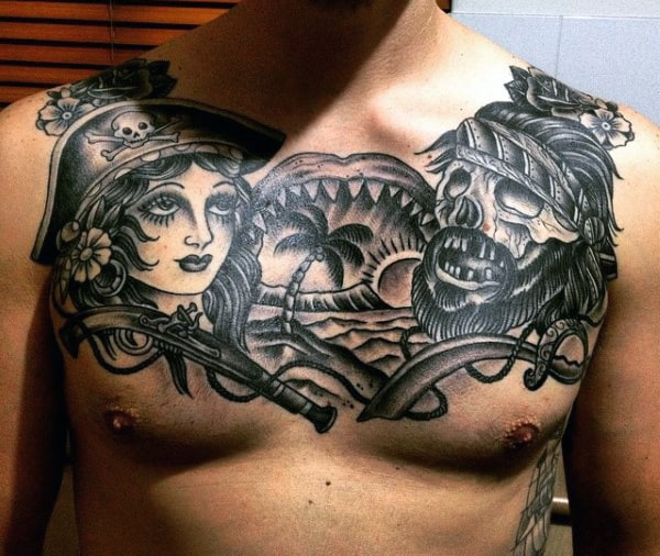 Pirate Chest Tattoo Designs Men