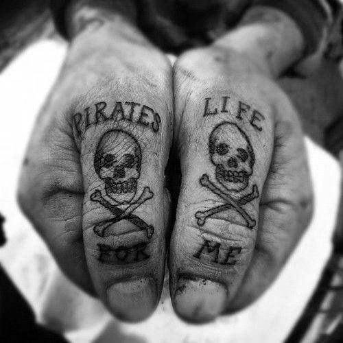 Pirate Life For Me Skull And Crossbones Guys Thumb Tattoos