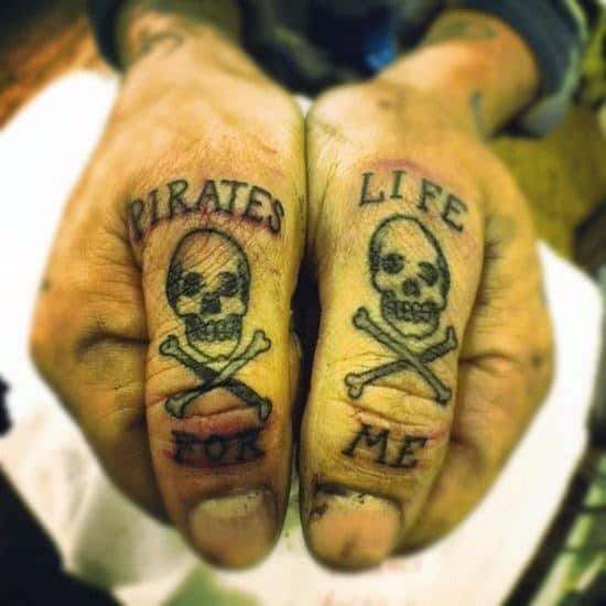 Pirate Life For Men Knuckle Tattoos For Men With Skull And Crossbones