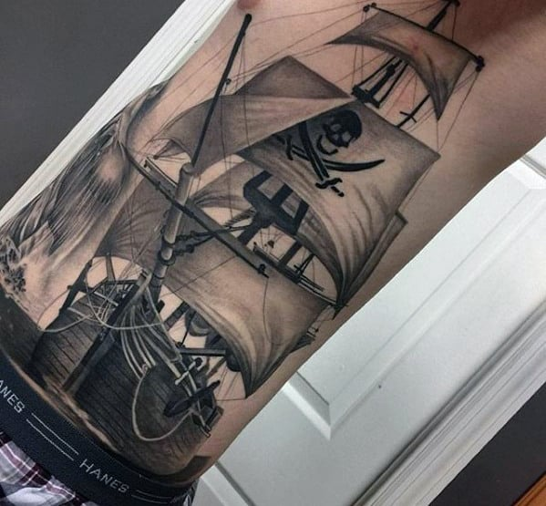 Pirate Ship Different Mens 3d Rib Cage Side Tattoo