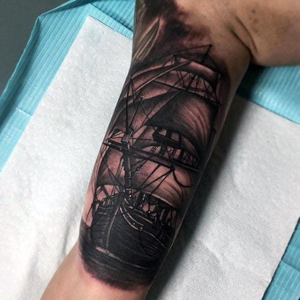 Pirate Ship Sleeve Men's Tattoo