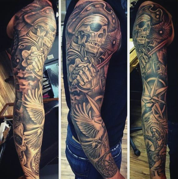 Pirate Ship Tattoo Designs For Men