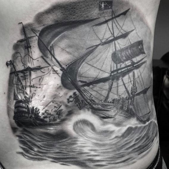 Pirate Ship Tattoo Designs On Man