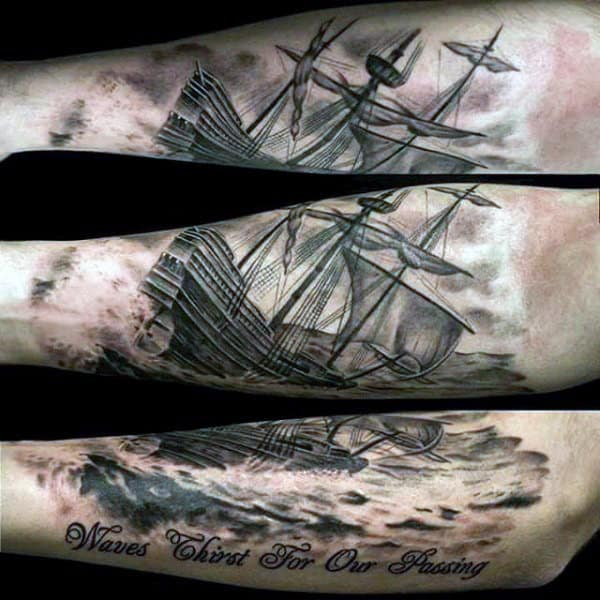 Pirate Ship Wheel Male Tattoo