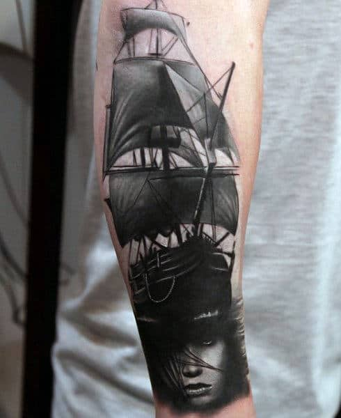 Pirate Ships Man's Tattoos On Wrist