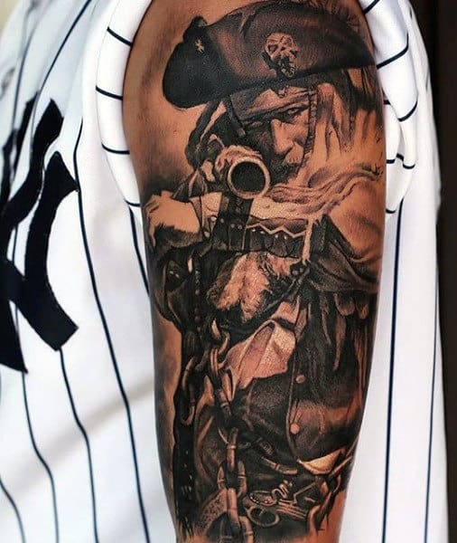 Pirate Skeleton Men's Tattoo