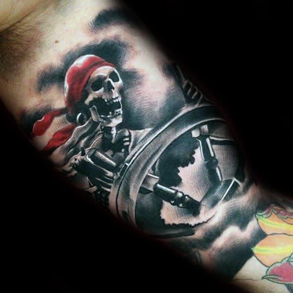 Pirate Skeleton Steering Ship Wheel Mens Tattoo On Inner Arm